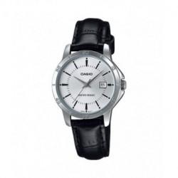Reloj Señora Casio plateado con correa de piel LTP-V004L-7A