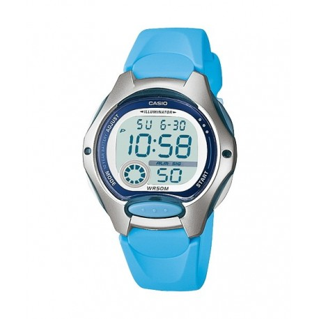 e199dd68059f Reloj pusera CASIO para niños en color azul claro y sumergible LW-200-2B