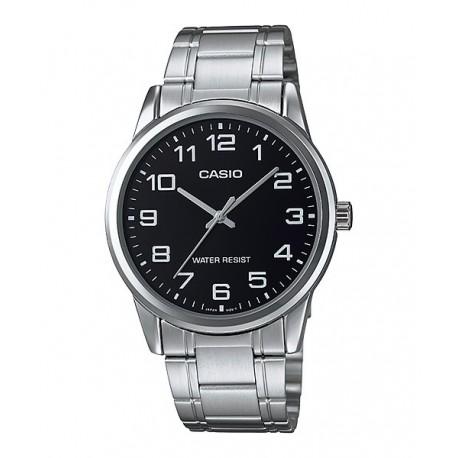 0535d9386323 CASIO Reloj analógico para hombre con numeros y esfera negra MTP-V001D-1B