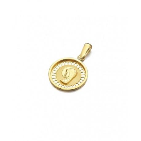 Colgante Medalla Oro Amarillo Comunión Virgen Niña 18K Joyas