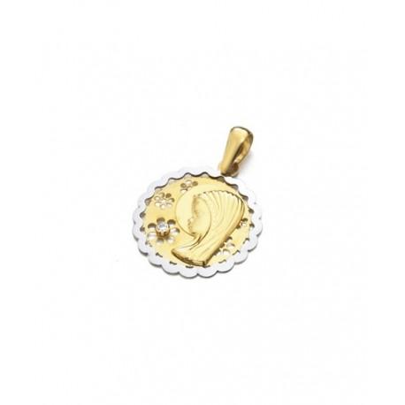 Medalla Oro Bicolor Virgen Niña Calada Circonita 18K JOYAS
