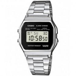 Reloj retro vintage CASIO de moda unisex plateado A-158WE-1E