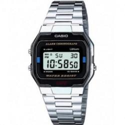 Reloj retro plateado de moda CASIO para hombre y mujer A-163WA-1Q
