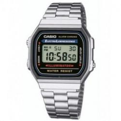 Reloj retro vintage CASIO de moda unisex con luz color plata A-168WA-1W