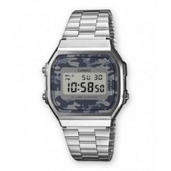 Reloj retro vintage camouflage CASIO unisex con luz color plata A-168WEC-1E