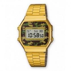 Reloj retro vintage camouflage CASIO unisex con luz color dorado A-168WEG-3E
