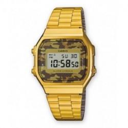 Reloj retro vintage camouflage CASIO unisex con luz color dorado A-168WEG-5E