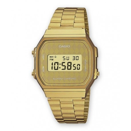 26343869f47e Reloj color dorado retro vintage CASIO de moda unisex con luz A-168WG-9B