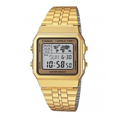b28255f248f0 Reloj de moda retro dorado digital CASIO para hombre y mujer A-500WG-9D