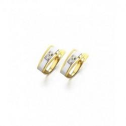 Pendientes Oro Bicolor Circonitas 18K