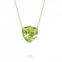 Collar Colgante Metal Dorado Cristal Verde TRILLIANTE Hannibal Laguna Luxenter