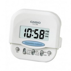 Despertador pequeño Digital para Viaje cuadrado color blanco CASIO PQ-30B-7D