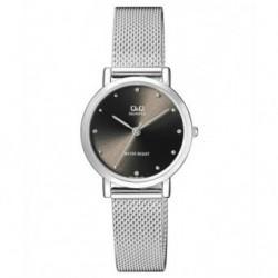 Reloj de moda para mujer plateado esfera negra Q&Q by Citizen QA21J222Y