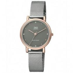 Reloj de moda para mujer plateado y dorado esfera gris Q&Q by Citizen QA21J412Y