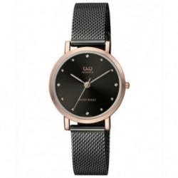 Reloj de moda para mujer negro y dorado esfera negra Q&Q by Citizen QA21J422Y