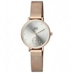 Reloj de moda retro color oro rosa para mujer Q&Q QA97J011Y