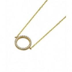 Gargantilla Oro Amarillo Circulo Circonitas 18K