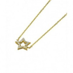 Gargantilla Oro Amarillo Estrella Circonitas 18K Joyas