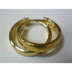 Aros Criollas Oro Amarillo Tubo Cuadrado 3x14mm