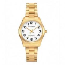 Reloj clasico dorado para Mujer con numeros muy marcados y sumergible by Viceroy 40854-94