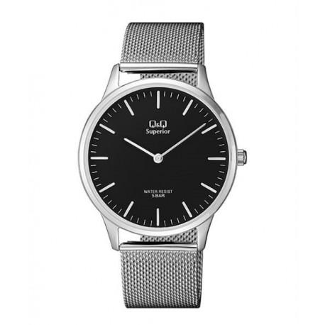 Reloj Q&Q de moda Acero Sumergible para Hombre esfera negra S306J202Y