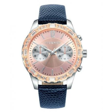 d52531972b83 VICEROY Reloj de Moda para mujer color oro rosa con correa de piel y  cristales Swarovski