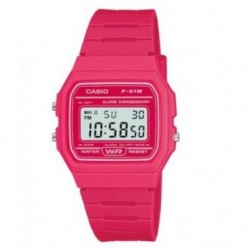 RELOJ RETRO COLOR FUCSIA CASIO F-91WC-4A