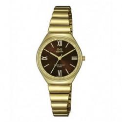 Reloj Acero Sumergible dorado para Mujer esfera chocolate de Q&Q by Citizen S293J008Y