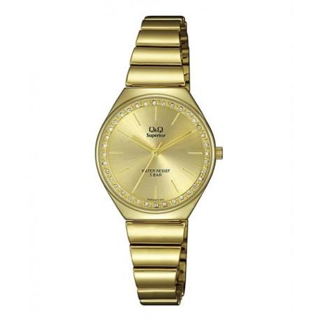 Reloj dorado Mujer sumergible de acero esfera dorada de Q&Q S293J010Y