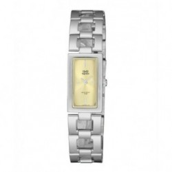 Relojes Q&Q Acero Sumergible rectangular Mujer esfera champan S299J200Y