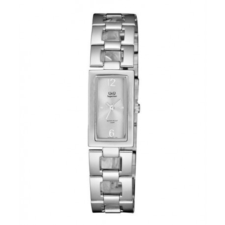 Relojes Q&Q rectangular para Mujer sumergible esfera blanca S299J201Y