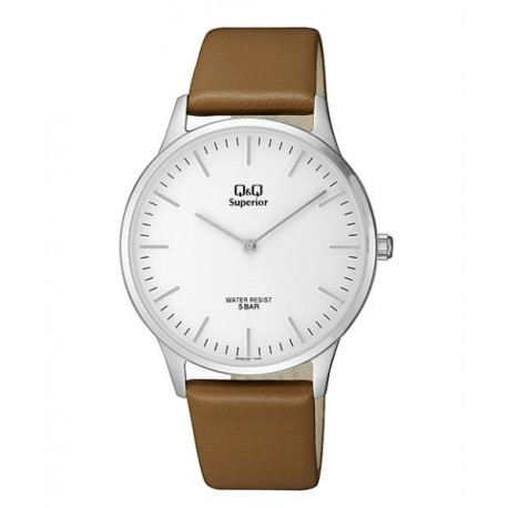 Reloj Moda Q&Q Correa piel Sumergible Hombre esfera blanca S306J301Y