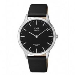 Reloj moda Q&Q Correa piel Sumergible Hombre esfera negra S306J302Y