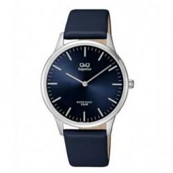 Relojes moda Correa piel Sumergible Hombre esfera azul Q&Q S306J312Y