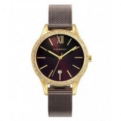 Reloj Señora VICEROY color chocolate con circonitas en el bisel y cadena de malla 461088-53