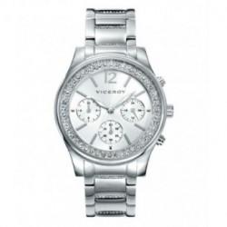 Reloj para señora moderno con cronógrafo Plateado y sumergible by VICEROY 40848-85