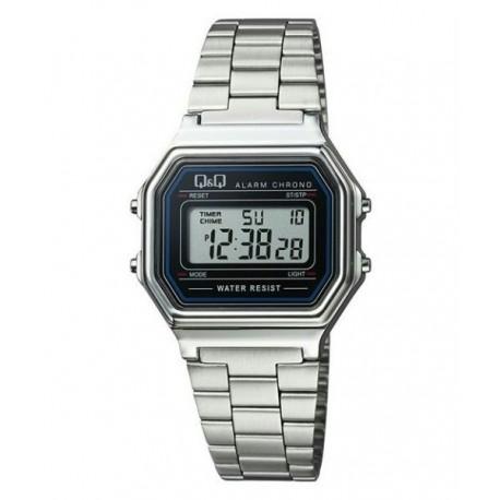 Vintage Reloj retro unisex plateado con brazalete plateado de Q&Q fabricado por Citizen M173J001Y