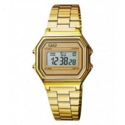 Vintage Reloj retro unisex dorado con brazalete dorado de Q&Q fabricado por Citizen M173J002Y