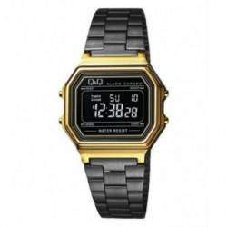 Vintage Reloj retro unisex dorado con cadena negra metalizada de Q&Q fabricado por Citizen M173J004Y