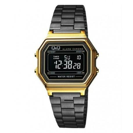 46ab408522ca Vintage Reloj retro unisex dorado con cadena negra metalizada de Q Q  fabricado por Citizen M173J004Y