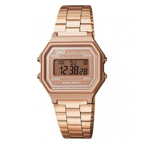 e8b259218ed8 Vintage Reloj color oro rosa metalizado retro unisex de Q Q fabricado por  Citizen M173J006Y