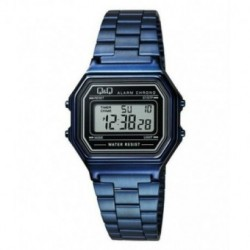 Vintage Reloj color azul metalizado retro unisex de Q&Q fabricado por Citizen M173J007Y