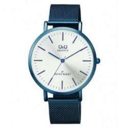 Reloj de moda unisex azul metalizado con esfera blanca de Q&Q by Citizen QZ18J401Y