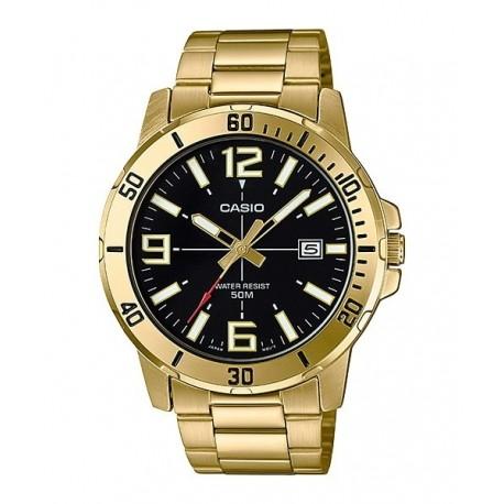 4c1ec84751f0 Reloj dorado Casio esfera negra para hombre sumergible con cadena y  calendario MTP-VD01G-1B