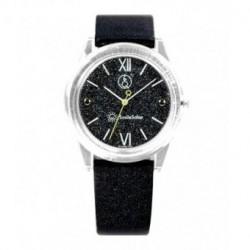 Correa original para el reloj Smile Solar Q&Q color negro brillo RP18J003Y