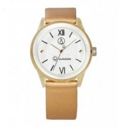 Correa original para el reloj Smile Solar Q&Q color dorado brillo RP18J005Y