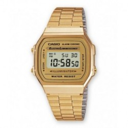 Brazalete reloj retro Casio dorado A-168WG-9W, A-168WG-9B