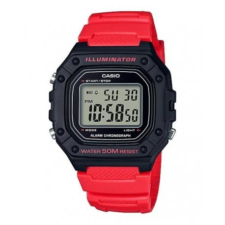 729c2a71de7a Reloj pulsera digital color negro y rojo CASIO para hombre W-218H-4B