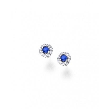 Pendientes Oro Blanco Circonita Azul 18K