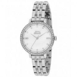 Reloj color plata y con incrustacion de cristales en la caja y correa para señora Slazenger SL.09.6078.3.01